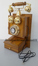 NAUTICAL ANTIQUE VINTAGE LOOK WOODEN BASE BRASS ROTARY TELEPHONE WORKING PHONE
