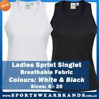 Ladies Sprint Singlet Training Gym Running Black White Top Workout Casual SG302L