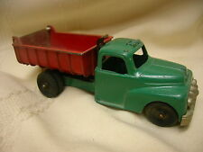 "Vintage Hubley Kiddie Toy Dump Truck Green & Red 5 1/2"" Long Lancaster PA USA"