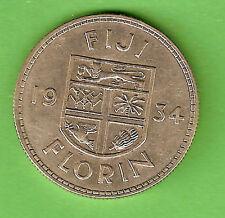 #C20.  1934  FIJI  SILVER  FLORIN  COIN, NICE GRADE