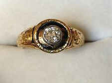 ANTIQUE GEORGIAN DATED 1830 DIAMOND ENAMEL MEMENTO MORI GOLD SIGNET RING
