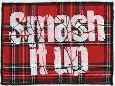RED TARTAN THE DAMNED CAPTAIN SENSIBLE SMASH IT UP  PUNK ROCK PRINTED PATCH