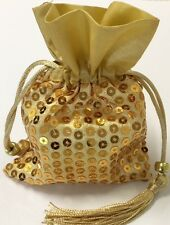 12 Gold Sequin Satin Favor Bags Wedding Birthday Party Anniversary Shower Gift