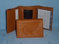 DETROIT RED WINGS   Leather TriFold Wallet   NEW!  tan  bb