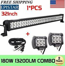 32Inch 180w LED Light Bar Spot Flood Work Lamp 4WD Driving+2X4'' 18W+Harness kit