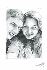 Personlised Xmas Gift For Him Her A5 Pencil Drawing /Personalised Birthday Gift