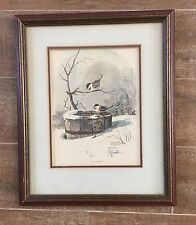 Chickadee Print picture LE Raymond Williams Enchanted Bucket winter framed bird