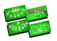"4 Casino Games Set Roulette Blackjack Poker Texas HoldEm & Craps NEW 36"" x 18"""