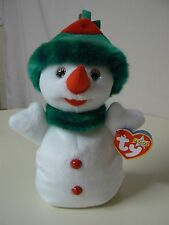 Ty Beanie Baby SNOWGIRL Plush White Snowgirl with Red and Green Cap 2000 Star