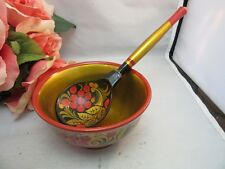 Vtg hand painted USSR Russian wood lacquer ware bowl w/ spoon. Black, red & gold