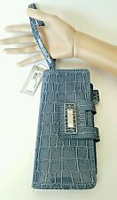 Kenneth Cole Reaction Tab Clutch with wrist  Strap Wallet Blue Animal Print USA