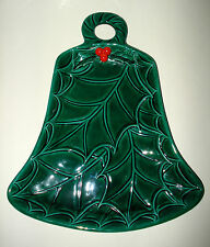 Lefton GREEN HOLLY BERRY XMAS BELL SERVING PLATTER DISH WALL HANGING TRAY JAPAN