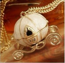 Lady's Disney Queen's Cinderella magic Pumpkin Carriage Locket Necklace