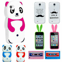 HUMOROUS FUNNY FUNKY ANIMAL MOUSTACHE CASSETTE PANDA BEAR SKIN COVER CASE