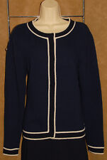 CHANEL 02C - Navy Blue - 100% Pure CASHMERE Cardigan Sweater sz L 48 *Luxurious!
