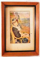 Vintage Print Postcard By The Seashore by Renoir Reproduction Small Wood Frame