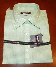#1141- NEW Ladies Kirkland Key Lime Check 3/4 Sleeve Shirt  Sz Medium 8-10