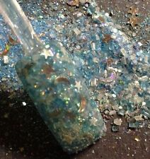 glitter mix nail art acrylic gel ELSA'S DRESS  hard to photograph stars/moons