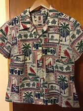 Vintage Tori Richard Women's Hawaiian Shirt Guam Bank Pacific Size Medium