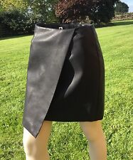 Marks and Spencer Collection Black A Line Leather Skirt Size 10 New with Tags