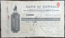 India 1884 Bank of Bengal Share Certificate