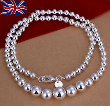 """925 Sterling Silver Necklace Graduated Hollow Ball Bead  18"""" Ladies Gift UK"""