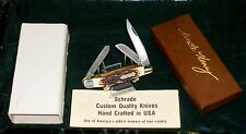 Schrade 898UH Knife Stag Appearance SCC+ Stamp C-1980's W/Packaging,Papers Rare