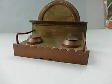 WW1 TRENCHART BRASS DOUBLE INKWELL WITH FRENCH & ENGLISH COINS AS LIDS 1914