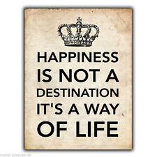 """Letrero de metal placa de pared """"la felicidad no es una impresión de imágenes"""" arte cartel de destino"""