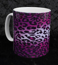 PURPLE LEOPARD PRINT COFFEE MUG CUP ROCKABILLY GOTH PUNK PSYCHOBILLY HORROR GIFT
