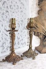 A Gorgeous Pair of Vintage French Bronze Side Table Lamps Lights Rococo Style