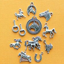 Horse Charm Collection 12 Tibetan Silver Tone Charms FREE Shipping E16