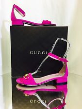 """New Authentic Gucci Pink """" BOUGANVILLE """"Suede Horsebit Sandal With Ankle Strap"""