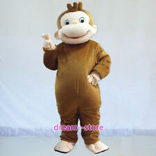 【SALE】 New Curious George Monkey Mascot Costume Adult Size Halloween Dress