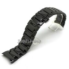 New 22/20 mm Black Ceramic Links Strap Watch Band Curved End Replacement Parts