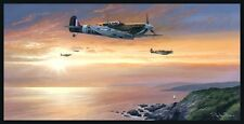 Battle of Britain 609 squadron Spitfire print Channel Sweep signed by artist