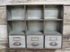 Vintage Industrial Grey wall store pigeon hole cabinet storage urban 3 drawers