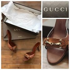 Gucci Shoes Heels Brown Suede | Classic Horsebit Buckle Mules | UK 3 EU 36