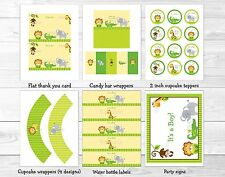 Bright Safari Jungle Animals Printable Baby Shower Party Package