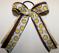 Softball Ribbon Hair Bow Ponytail Maroon Wine Gold Girls Team Spirit Accessories