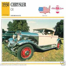 CHRYSLER CM 1930 CAR VOITURE USA ETATS-UNIS CARTE CARD FICHE
