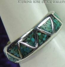 SILVER CLOUD VINTAGE Chipped Inlaid TURQUOISE STERLING SILVER 0.925 RING size 7