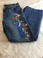 Willi Smith Womens Embroidered Floral Peacock Jeans Size 6 Stretch Boot Cut