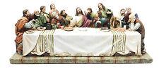 "The Last Supper Jesus and Twelve Apostles Figurine Sculpture 11"" Length Decor"