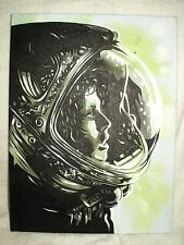 Canvas Painting alien Movie Ripley in Helmet Speckled Art 16x12 inch Acrylic