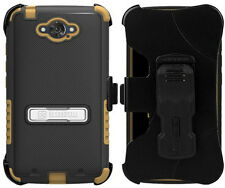 BROWN TRI-SHIELD CASE COVER + BELT CLIP HOLSTER STAND FOR MOTOROLA DROID TURBO