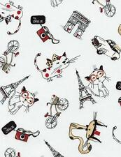 """Paris Cats Cartoon French France Eiffel Tower Timeless Treasures Fabric 30"""""""