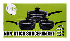 3pc Non Stick Cookware Set Saucepan Pot With Lids Frying Induction Pan Black P16