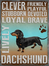 Dachshund Personality Traits Metal Sign, Casual Den, Bar, Gameroom, Kennel Decor
