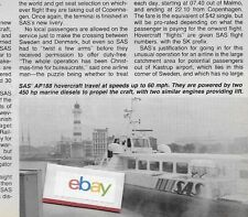 SAS SCANDINAVIAN AIRLINES SYSTEM 1984 HOVERCRAFT AP188'S KASTRUP/MALMO ARTICLE